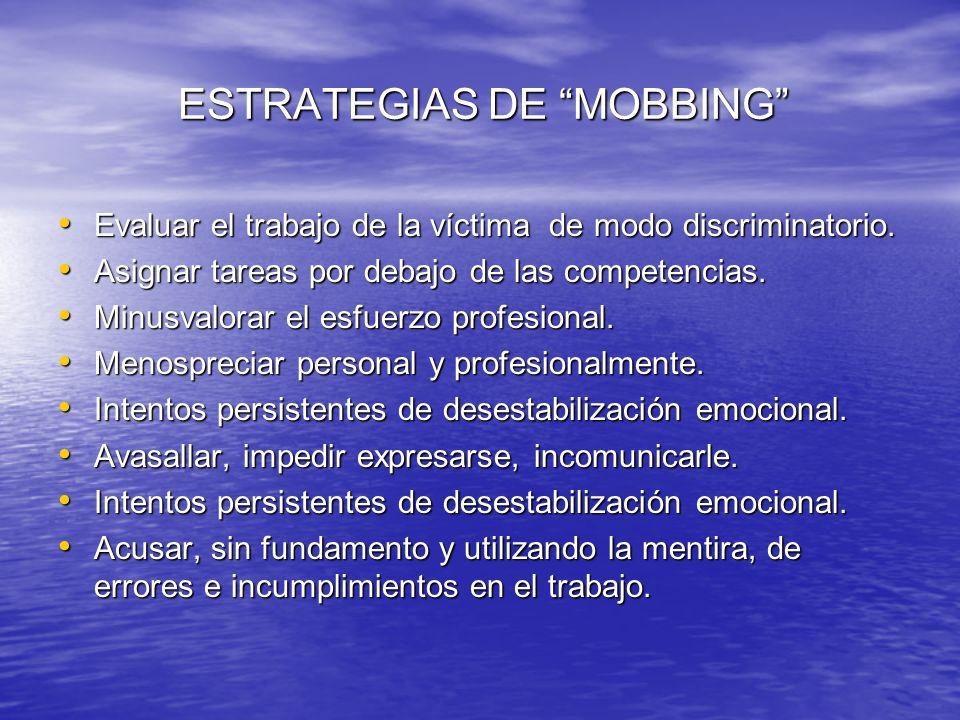 ESTRATEGIAS DE MOBBING ESTRATEGIAS DE MOBBING Evaluar el trabajo de la víctima de modo discriminatorio. Evaluar el trabajo de la víctima de modo discr