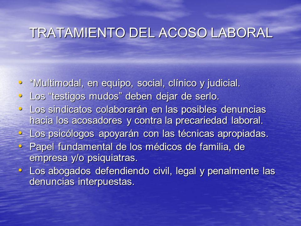 TRATAMIENTO DEL ACOSO LABORAL TRATAMIENTO DEL ACOSO LABORAL *Multimodal, en equipo, social, clínico y judicial. *Multimodal, en equipo, social, clínic