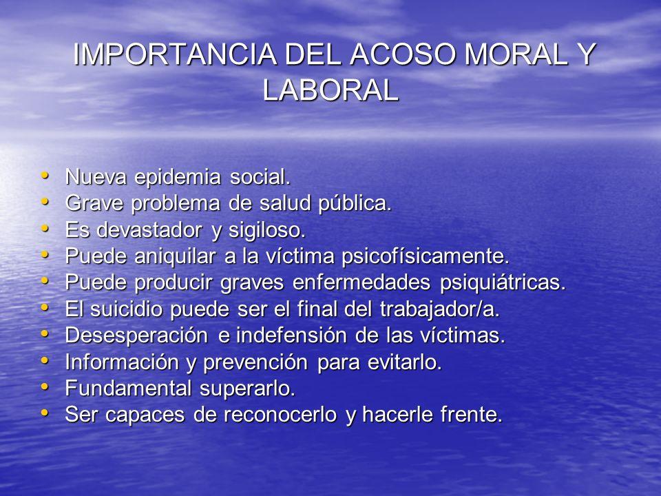 IMPORTANCIA DEL ACOSO MORAL Y LABORAL IMPORTANCIA DEL ACOSO MORAL Y LABORAL Nueva epidemia social. Nueva epidemia social. Grave problema de salud públ