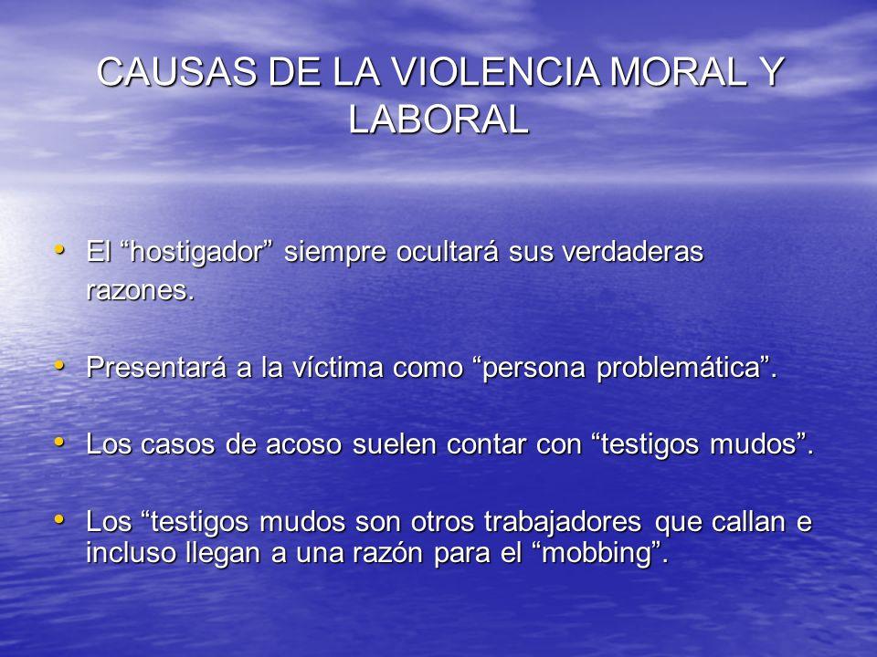 CAUSAS DE LA VIOLENCIA MORAL Y LABORAL CAUSAS DE LA VIOLENCIA MORAL Y LABORAL El hostigador siempre ocultará sus verdaderas El hostigador siempre ocul