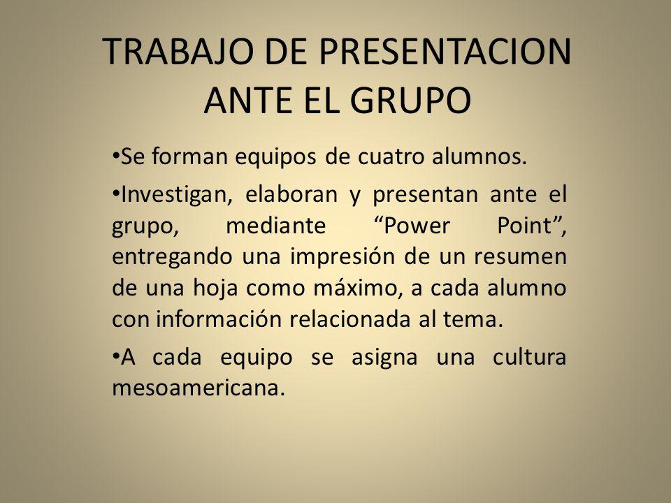 TRABAJO DE PRESENTACION ANTE EL GRUPO Se forman equipos de cuatro alumnos. Investigan, elaboran y presentan ante el grupo, mediante Power Point, entre