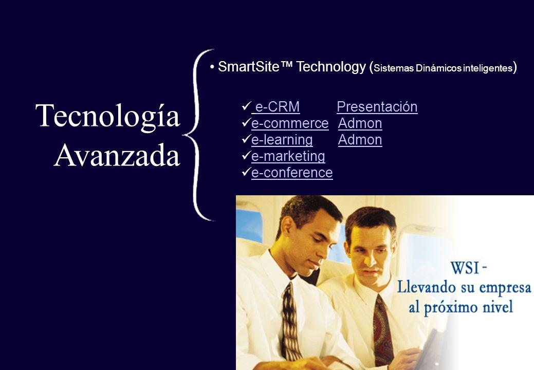 Tecnología Avanzada SmartSite Technology ( Sistemas Dinámicos inteligentes ) e-CRM Presentacióne-CRMPresentación e-commerce Admone-commerceAdmon e-lea