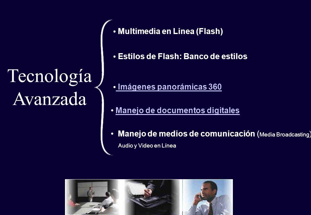Estilos de Flash: Banco de estilos Imágenes panorámicas 360 Imágenes panorámicas 360 Multimedia en Linea (Flash) Tecnología Avanzada Manejo de medios