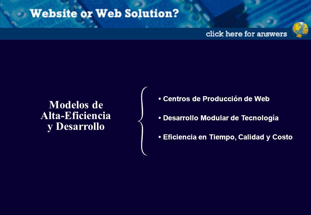 Modelos de Alta-Eficiencia y Desarrollo Centros de Producción de Web Desarrollo Modular de Tecnología Eficiencia en Tiempo, Calidad y Costo