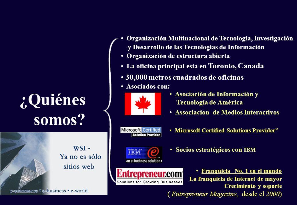 ¿Quiénes somos? 30,000 metros cuadrados de oficinas Asociados con : La oficina principal esta en Toronto, Canada Franquicia No. 1 en el mundo La franq