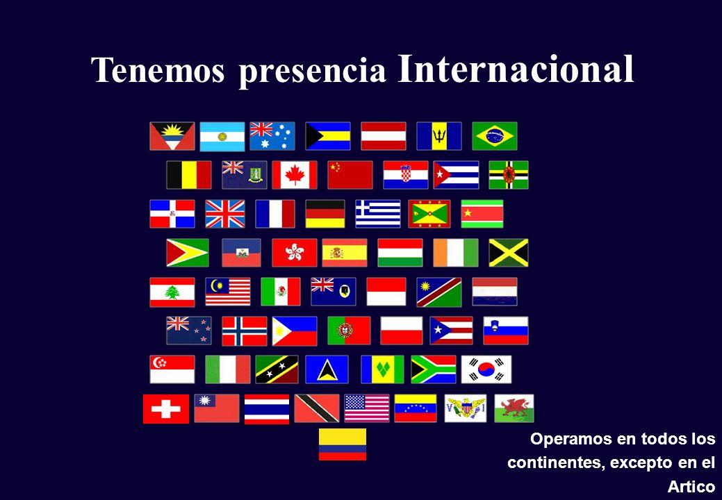 Tenemos presencia Internacional Operamos en todos los continentes, excepto en el Artico