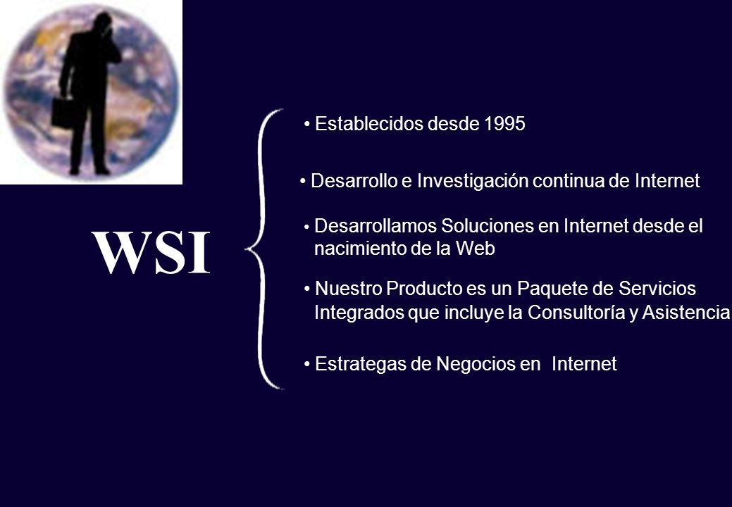 WSI Establecidos desde 1995 Desarrollo e Investigación continua de Internet Nuestro Producto es un Paquete de Servicios Integrados que incluye la Cons