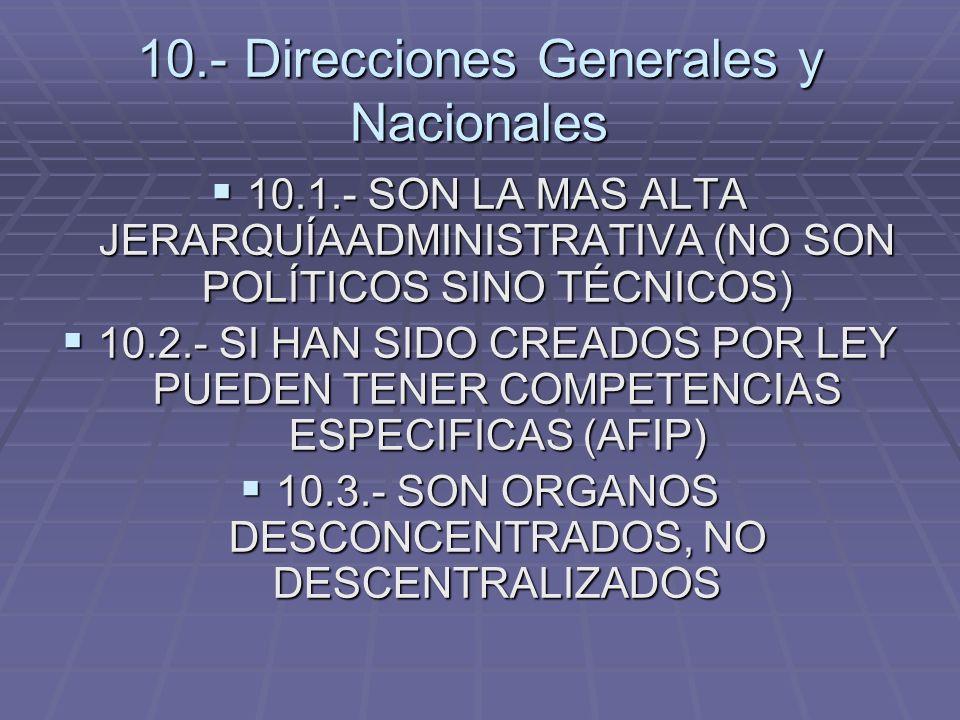 10.- Direcciones Generales y Nacionales 10.1.- SON LA MAS ALTA JERARQUÍAADMINISTRATIVA (NO SON POLÍTICOS SINO TÉCNICOS) 10.1.- SON LA MAS ALTA JERARQU