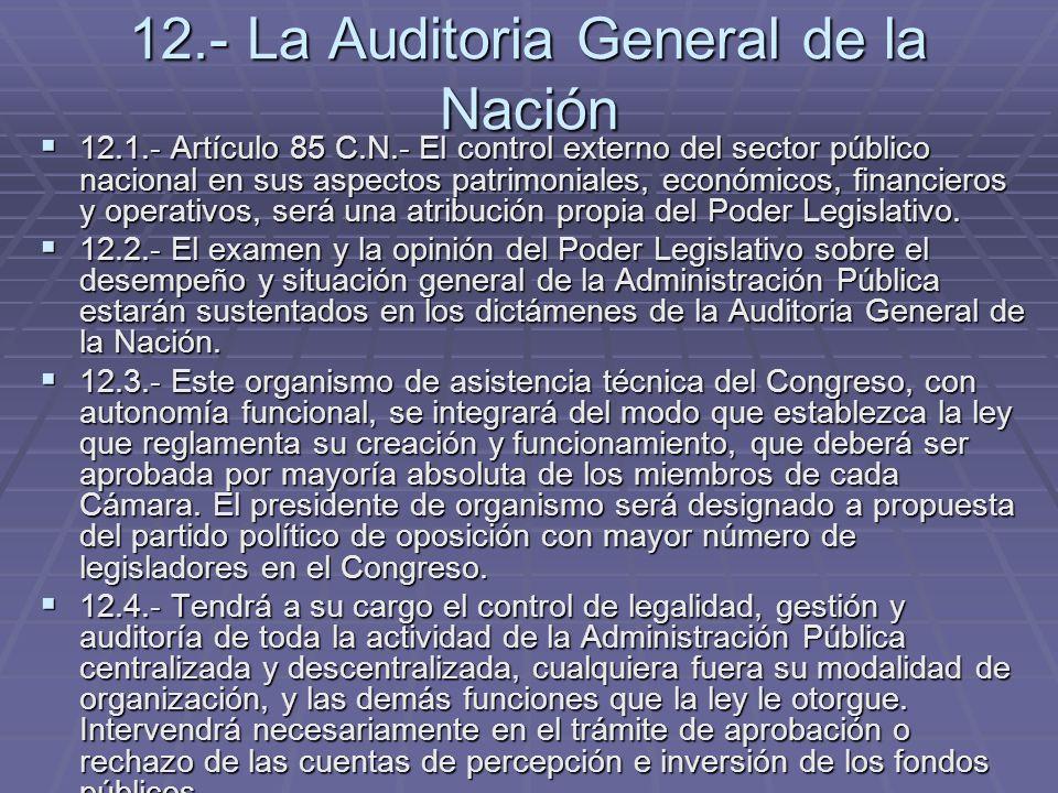 12.- La Auditoria General de la Nación 12.1.- Artículo 85 C.N.- El control externo del sector público nacional en sus aspectos patrimoniales, económic