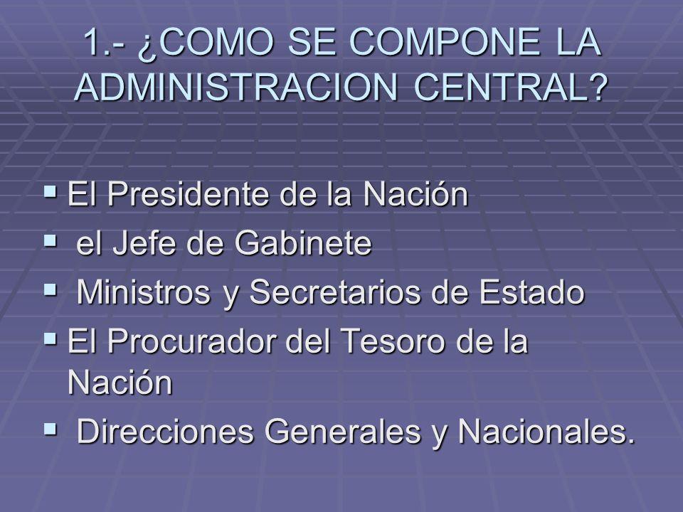1.- ¿COMO SE COMPONE LA ADMINISTRACION CENTRAL? El Presidente de la Nación El Presidente de la Nación el Jefe de Gabinete el Jefe de Gabinete Ministro