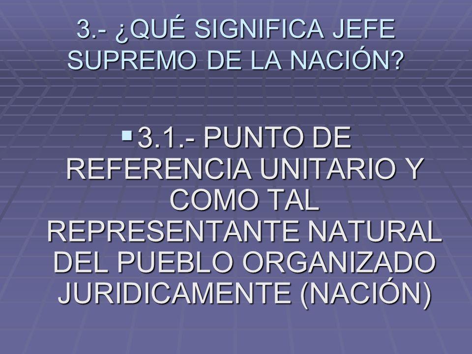 3.- ¿QUÉ SIGNIFICA JEFE SUPREMO DE LA NACIÓN? 3.1.- PUNTO DE REFERENCIA UNITARIO Y COMO TAL REPRESENTANTE NATURAL DEL PUEBLO ORGANIZADO JURIDICAMENTE