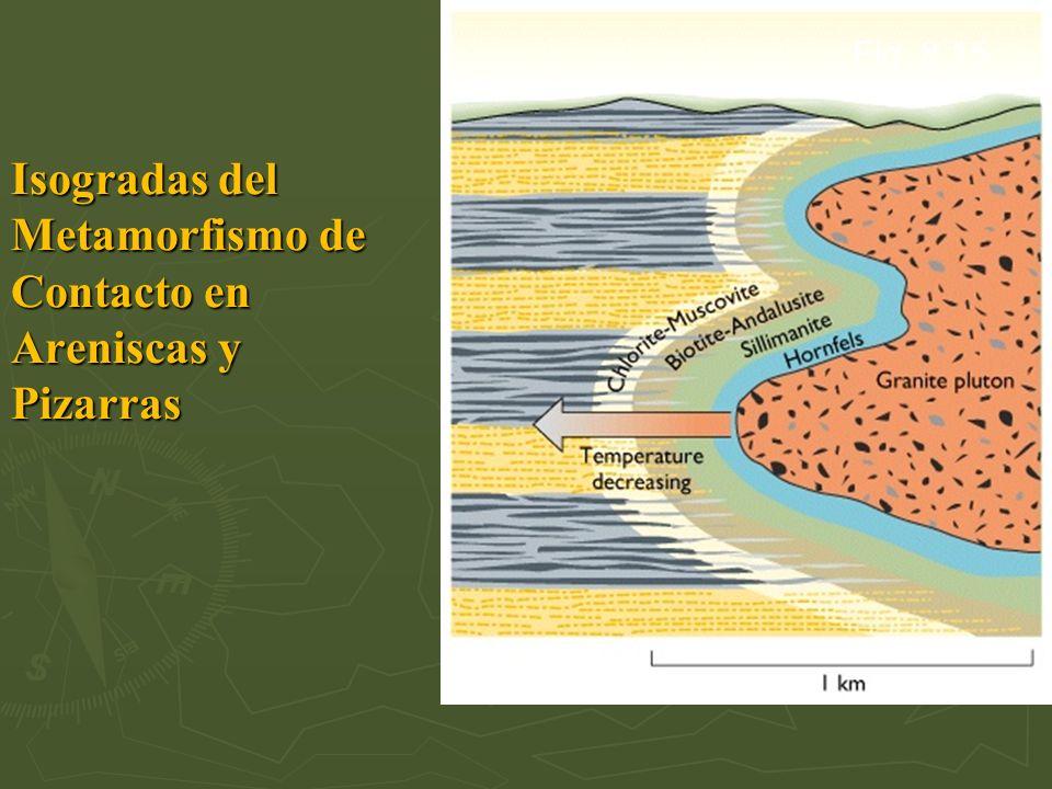Fig. 8.15 Isogradas del Metamorfismo de Contacto en Areniscas y Pizarras