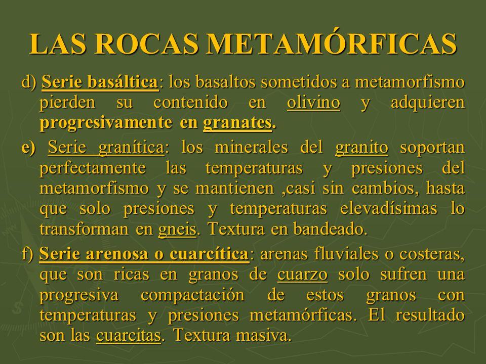LAS ROCAS METAMÓRFICAS d) Serie basáltica: los basaltos sometidos a metamorfismo pierden su contenido en olivino y adquieren progresivamente en granat