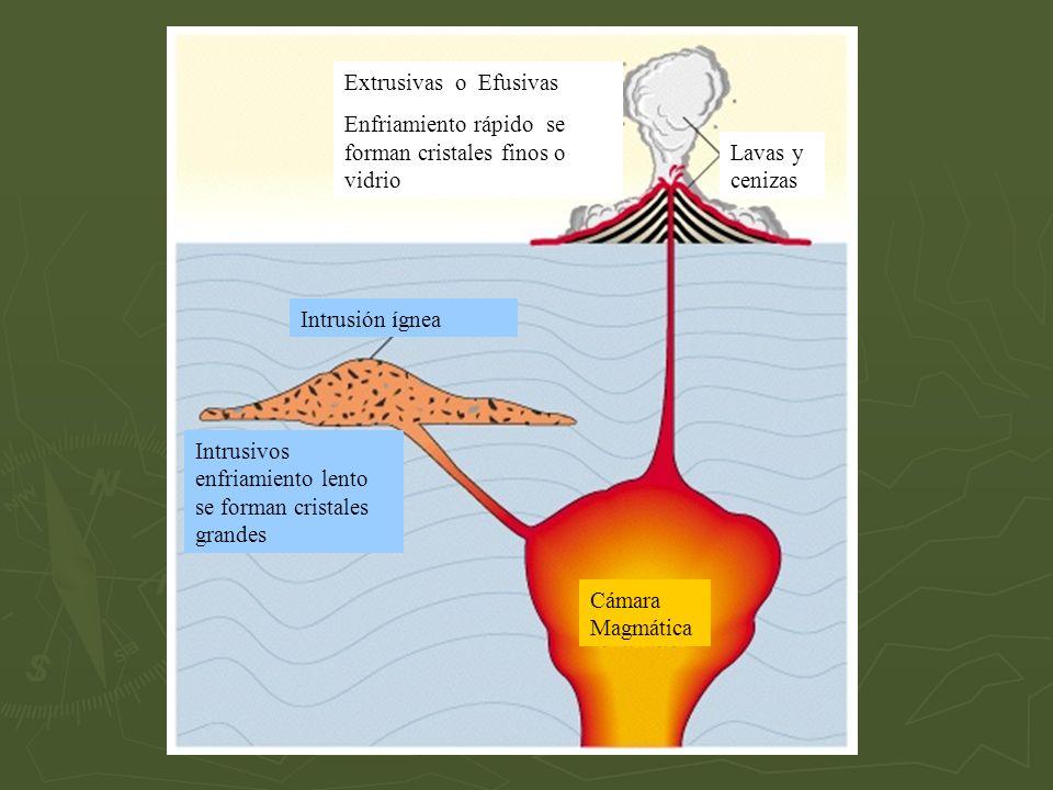 Extrusivas o Efusivas Enfriamiento rápido se forman cristales finos o vidrio Lavas y cenizas Intrusión ígnea Intrusivos enfriamiento lento se forman c