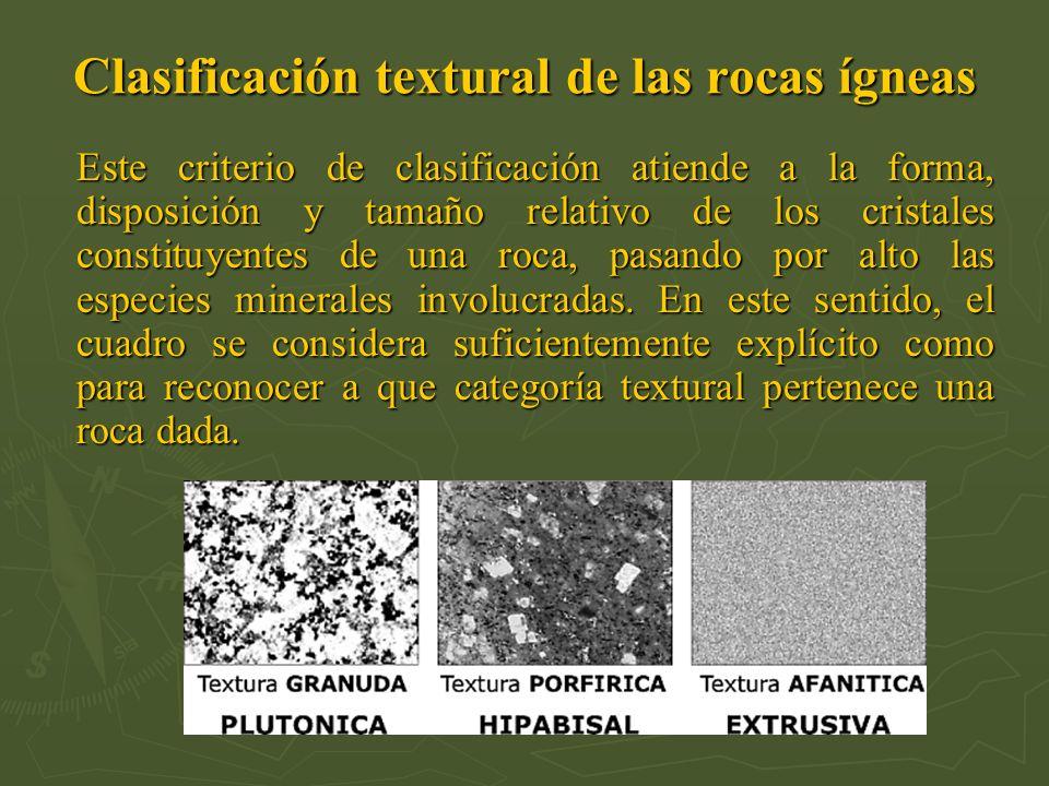 Clasificación textural de las rocas ígneas Este criterio de clasificación atiende a la forma, disposición y tamaño relativo de los cristales constituy