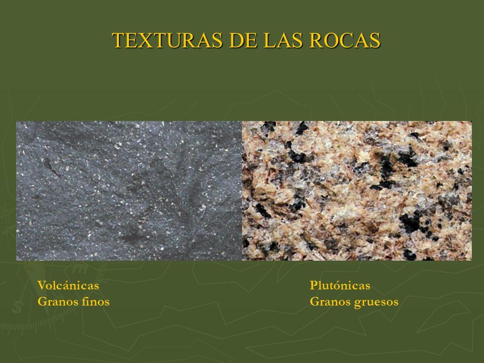TEXTURAS DE LAS ROCAS Volcánicas Plutónicas Granos finos Granos gruesos