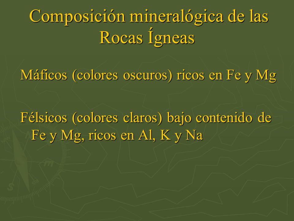 Composición mineralógica de las Rocas Ígneas Composición mineralógica de las Rocas Ígneas Máficos (colores oscuros) ricos en Fe y Mg Félsicos (colores