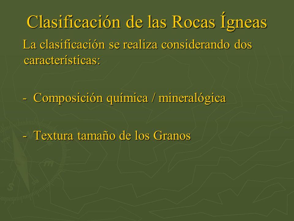 Clasificación de las Rocas Ígneas La clasificación se realiza considerando dos características: La clasificación se realiza considerando dos caracterí