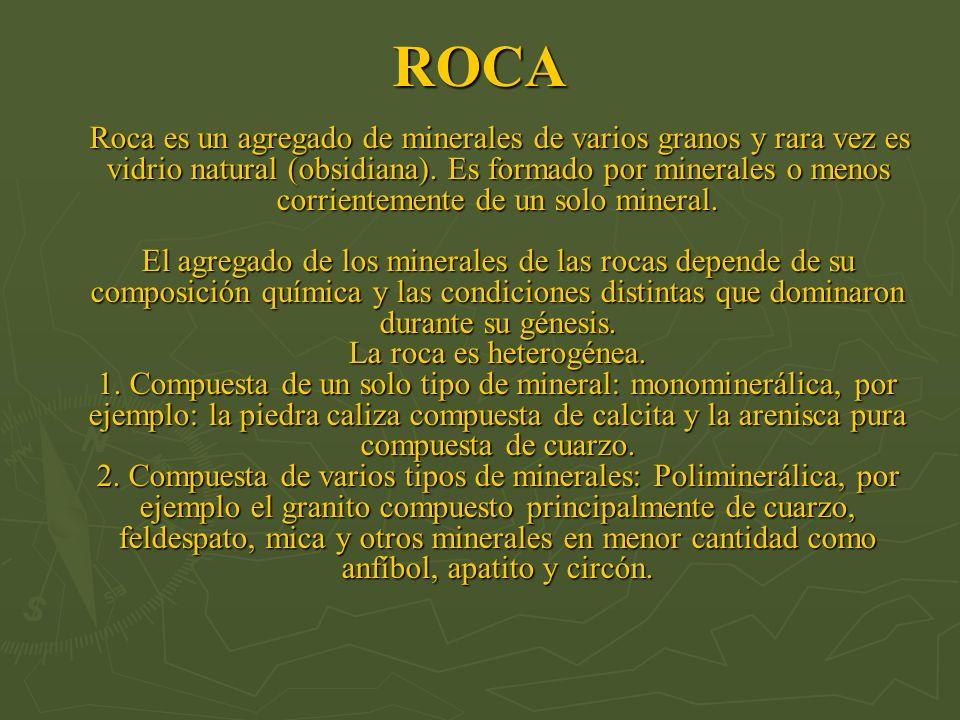 ROCA Roca es un agregado de minerales de varios granos y rara vez es vidrio natural (obsidiana). Es formado por minerales o menos corrientemente de un