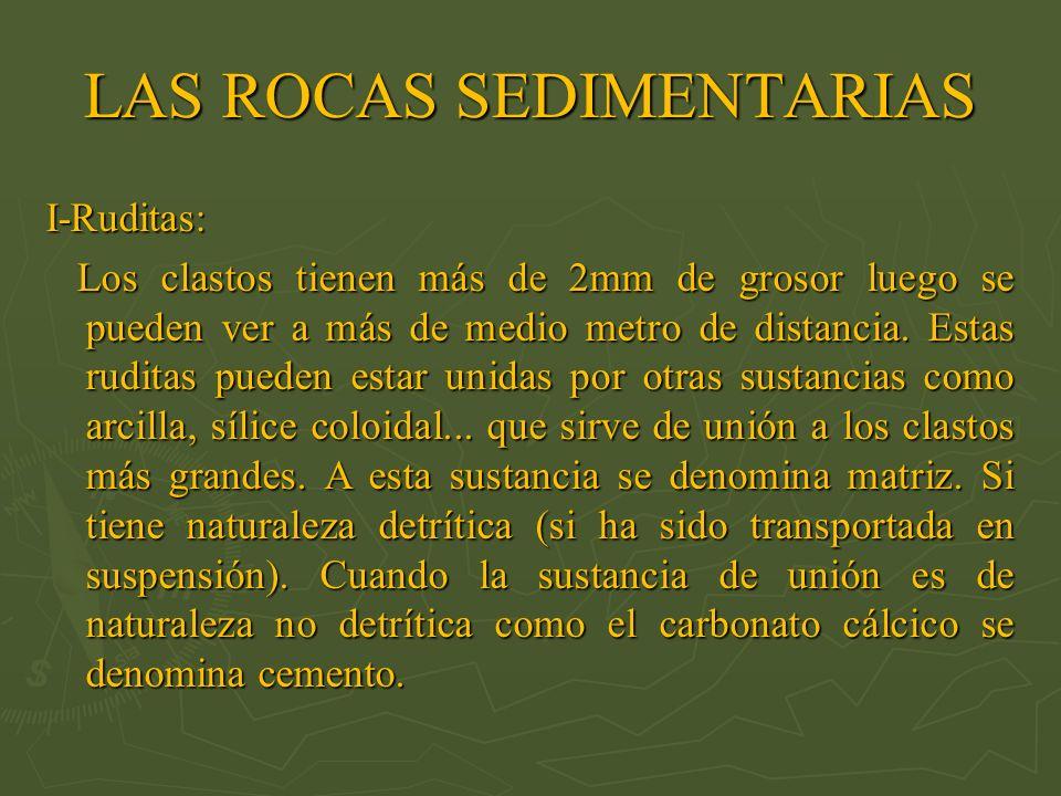 I-Ruditas: Los clastos tienen más de 2mm de grosor luego se pueden ver a más de medio metro de distancia. Estas ruditas pueden estar unidas por otras