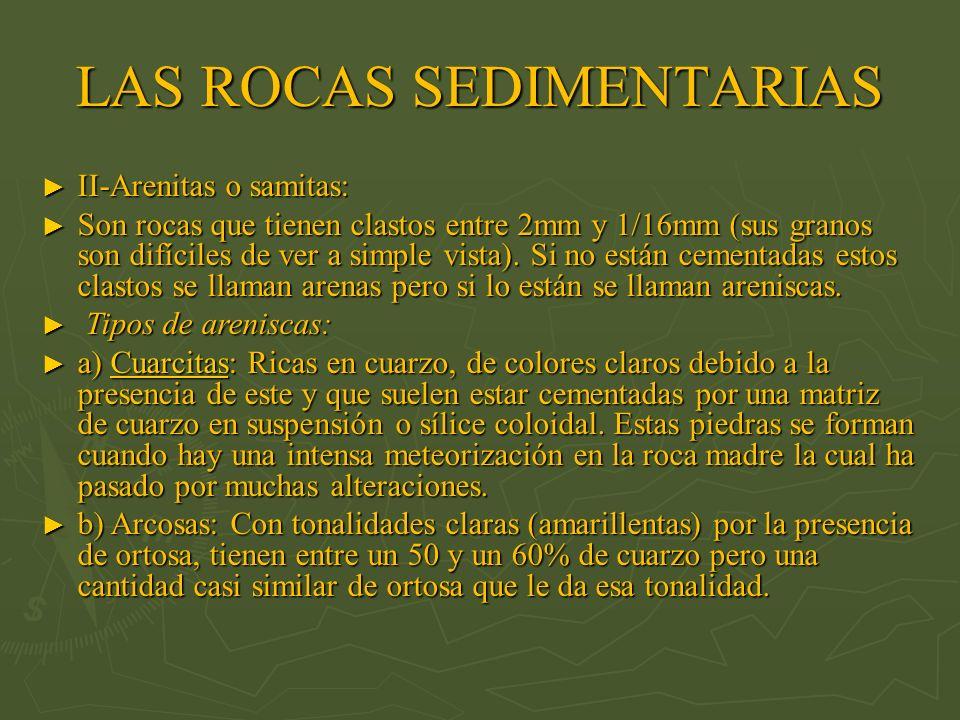 II-Arenitas o samitas: II-Arenitas o samitas: Son rocas que tienen clastos entre 2mm y 1/16mm (sus granos son difíciles de ver a simple vista). Si no