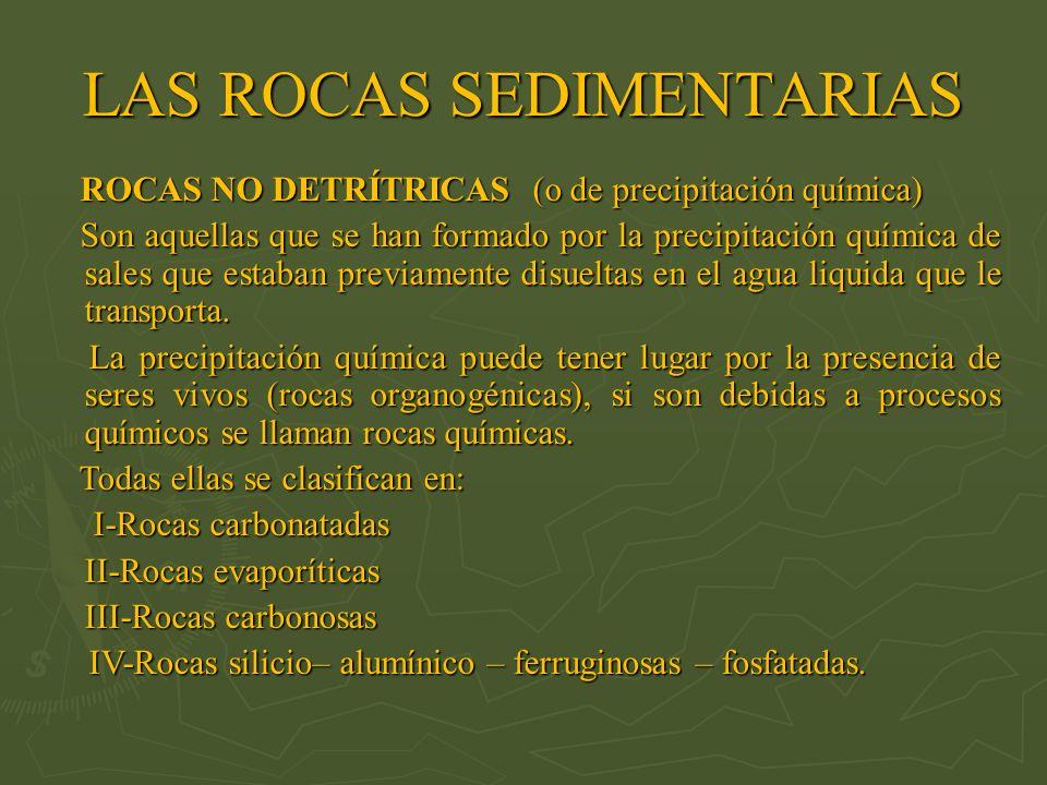 ROCAS NO DETRÍTRICAS (o de precipitación química) ROCAS NO DETRÍTRICAS (o de precipitación química) Son aquellas que se han formado por la precipitaci