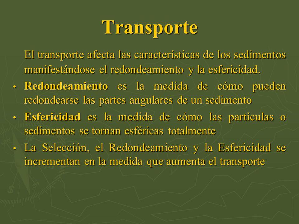 Transporte El transporte afecta las características de los sedimentos manifestándose el redondeamiento y la esfericidad. El transporte afecta las cara
