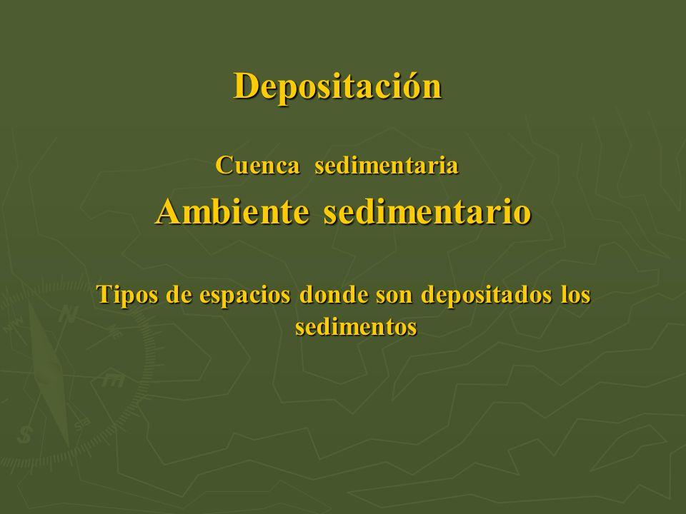 Depositación Cuenca sedimentaria Ambiente sedimentario Tipos de espacios donde son depositados los sedimentos