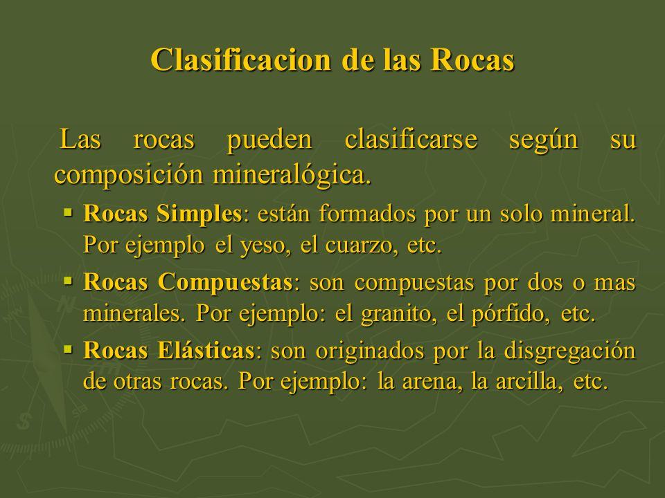 Clasificacion de las Rocas Las rocas pueden clasificarse según su composición mineralógica. Las rocas pueden clasificarse según su composición mineral