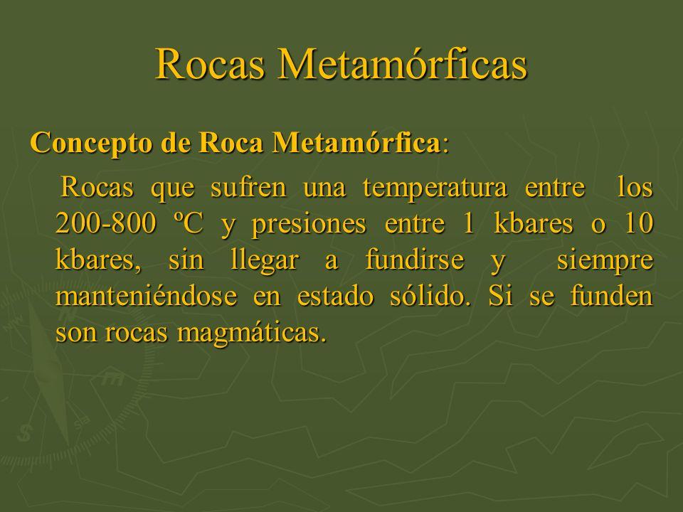 Concepto de Roca Metamórfica: Rocas que sufren una temperatura entre los 200-800 ºC y presiones entre 1 kbares o 10 kbares, sin llegar a fundirse y si