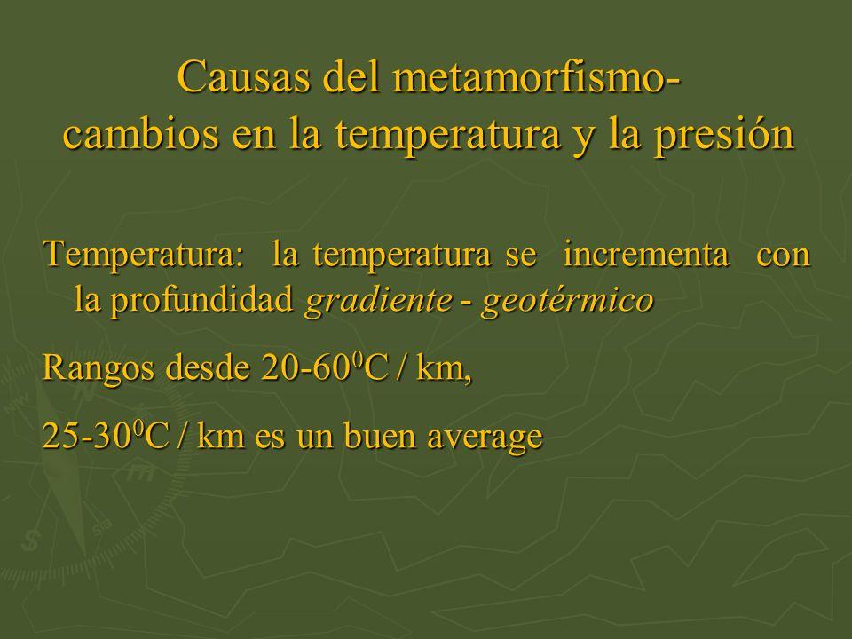 Causas del metamorfismo- cambios en la temperatura y la presión Temperatura: la temperatura se incrementa con la profundidad gradiente - geotérmico Ra