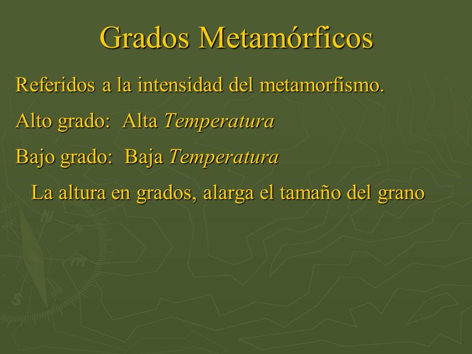 Grados Metamórficos Referidos a la intensidad del metamorfismo. Alto grado: Alta Temperatura Bajo grado: Baja Temperatura La altura en grados, alarga