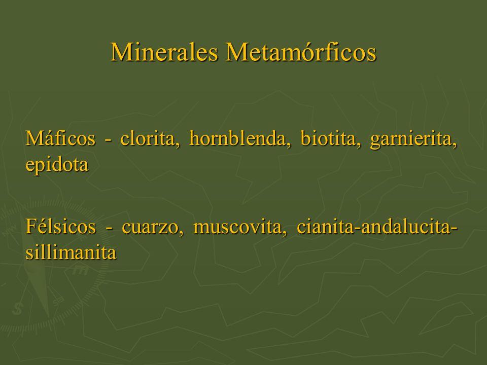 Minerales Metamórficos Máficos - clorita, hornblenda, biotita, garnierita, epidota Félsicos - cuarzo, muscovita, cianita-andalucita- sillimanita