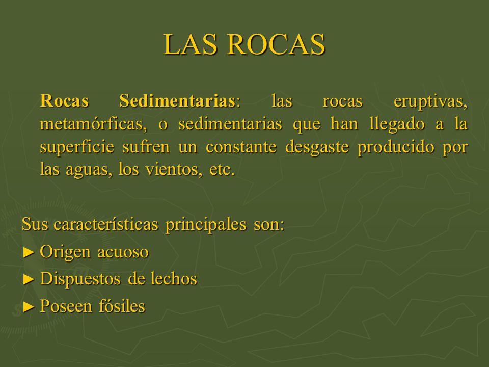 LAS ROCAS Rocas Sedimentarias: las rocas eruptivas, metamórficas, o sedimentarias que han llegado a la superficie sufren un constante desgaste produci