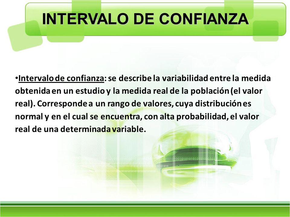 INTERVALO DE CONFIANZA Intervalo de confianza: se describe la variabilidad entre la medida obtenida en un estudio y la medida real de la población (el