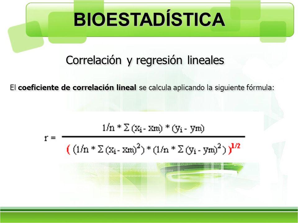 El coeficiente de correlación lineal se calcula aplicando la siguiente fórmula: Correlación y regresión lineales BIOESTADÍSTICA