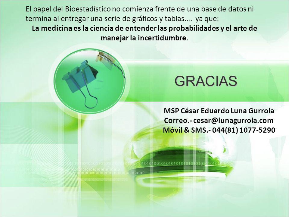 GRACIAS MSP César Eduardo Luna Gurrola Correo.- cesar@lunagurrola.com Móvil & SMS.- 044(81) 1077-5290 El papel del Bioestadístico no comienza frente d