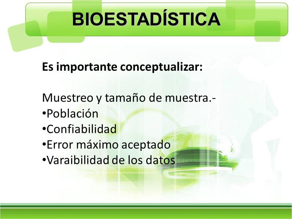 BIOESTADÍSTICA Es importante conceptualizar: Muestreo y tamaño de muestra.- Población Confiabilidad Error máximo aceptado Varaibilidad de los datos