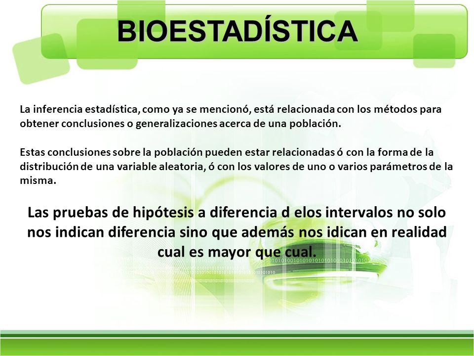 BIOESTADÍSTICA La inferencia estadística, como ya se mencionó, está relacionada con los métodos para obtener conclusiones o generalizaciones acerca de