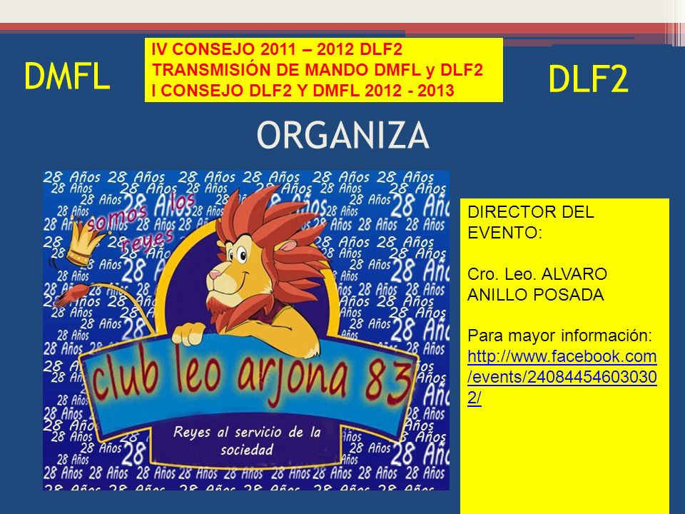 ORGANIZA DMFL IV CONSEJO 2011 – 2012 DLF2 TRANSMISIÓN DE MANDO DMFL y DLF2 I CONSEJO DLF2 Y DMFL 2012 - 2013 DLF2 DIRECTOR DEL EVENTO: Cro.