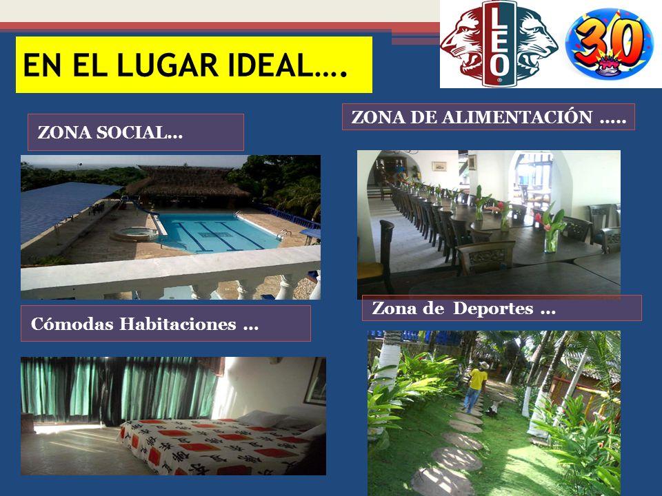 ZONA SOCIAL… ZONA DE ALIMENTACIÓN ….. Cómodas Habitaciones … Zona de Deportes … EN EL LUGAR IDEAL….