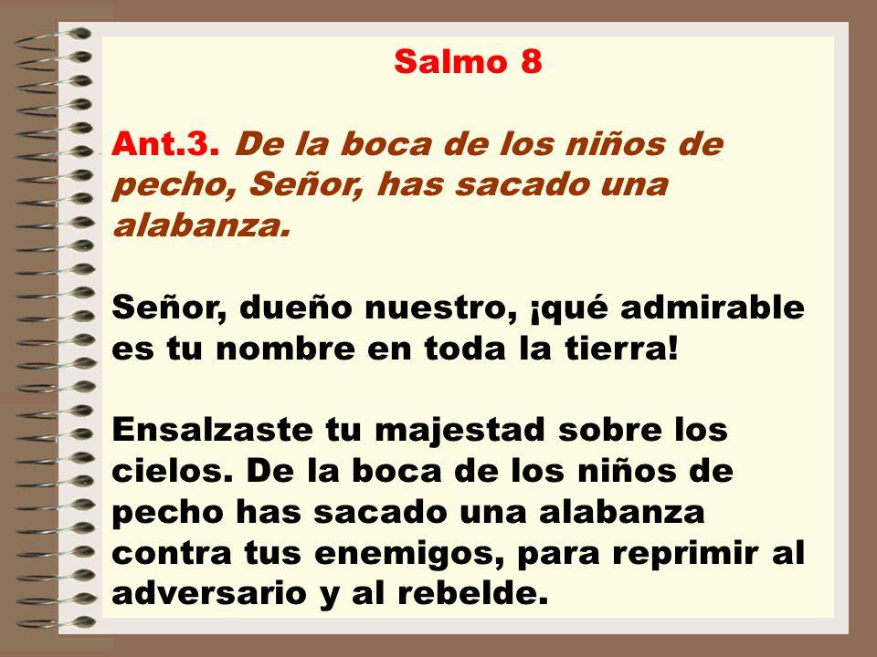 Salmo 8 Ant.3. De la boca de los niños de pecho, Señor, has sacado una alabanza. Señor, dueño nuestro, ¡qué admirable es tu nombre en toda la tierra!