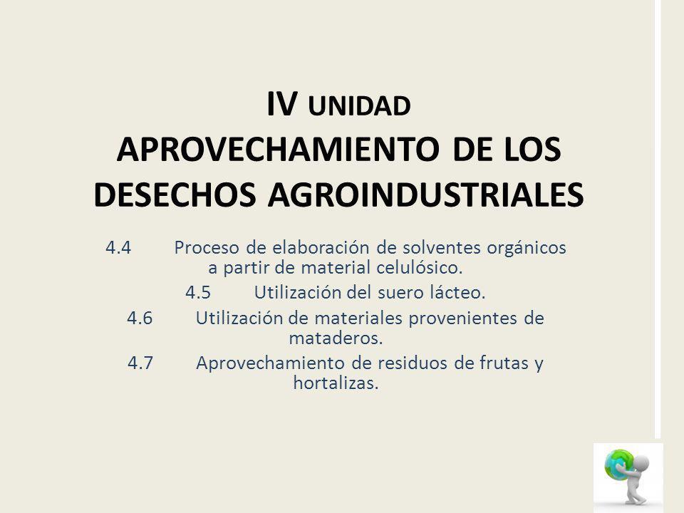 IV UNIDAD APROVECHAMIENTO DE LOS DESECHOS AGROINDUSTRIALES 4.4Proceso de elaboración de solventes orgánicos a partir de material celulósico. 4.5Utiliz