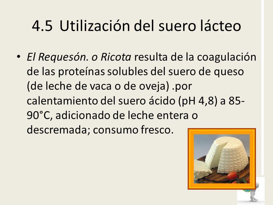 El Requesón. o Ricota resulta de la coagulación de las proteínas solubles del suero de queso (de leche de vaca o de oveja).por calentamiento del suero