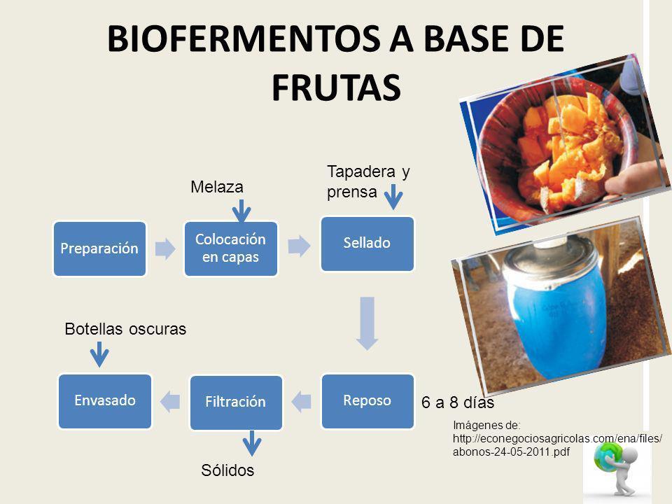 BIOFERMENTOS A BASE DE FRUTAS Preparación Colocación en capas SelladoReposoFiltraciónEnvasado Sólidos 6 a 8 días Tapadera y prensa Melaza Botellas osc