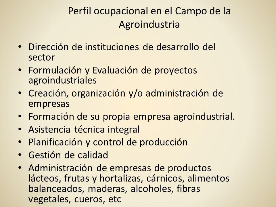 Perfil ocupacional en el Campo de la Agroindustria Dirección de instituciones de desarrollo del sector Formulación y Evaluación de proyectos agroindus