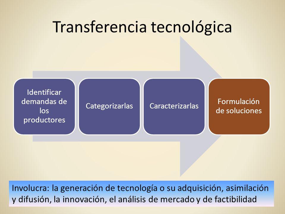 Transferencia tecnológica Identificar demandas de los productores CategorizarlasCaracterizarlas Formulación de soluciones Involucra: la generación de