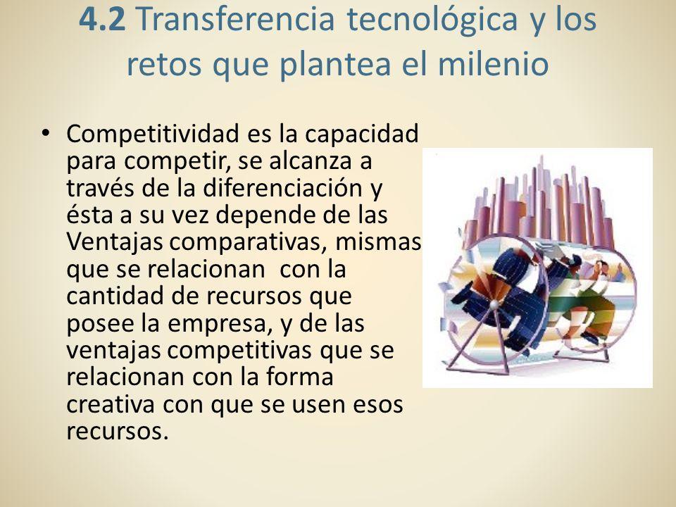 4.2 Transferencia tecnológica y los retos que plantea el milenio Competitividad es la capacidad para competir, se alcanza a través de la diferenciació
