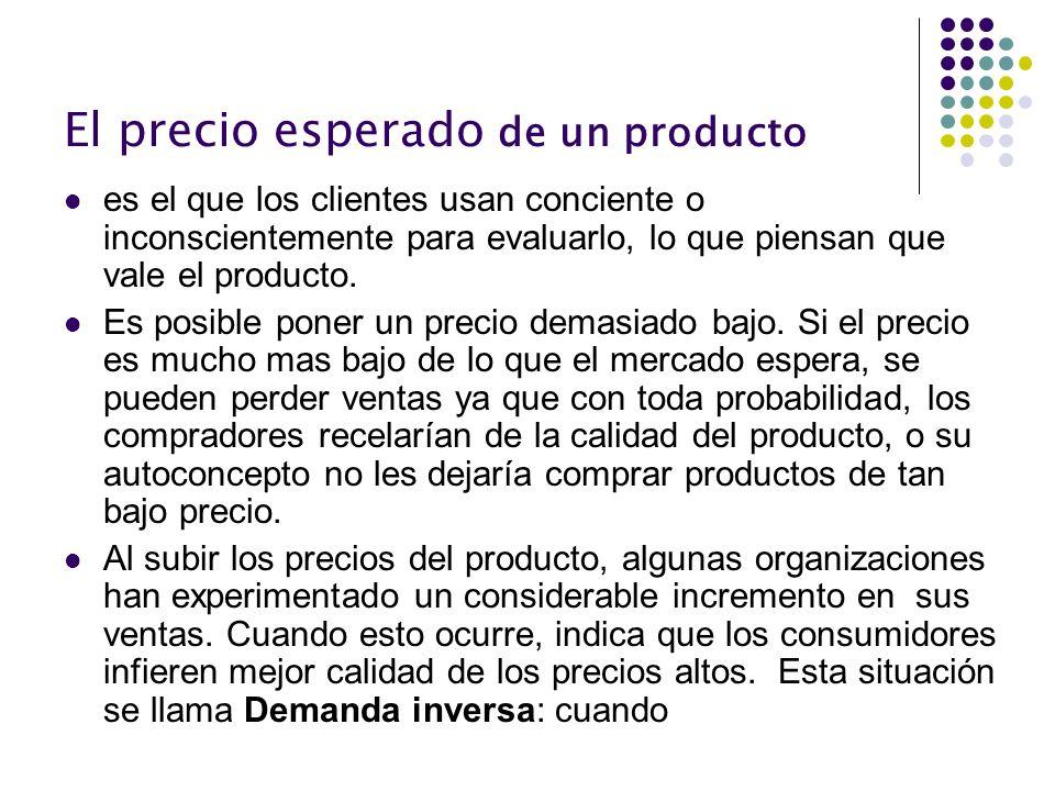 El precio esperado de un producto es el que los clientes usan conciente o inconscientemente para evaluarlo, lo que piensan que vale el producto. Es po