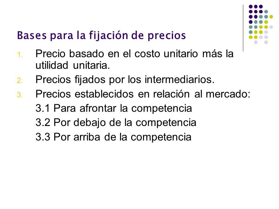 Bases para la fijación de precios 1. Precio basado en el costo unitario más la utilidad unitaria. 2. Precios fijados por los intermediarios. 3. Precio